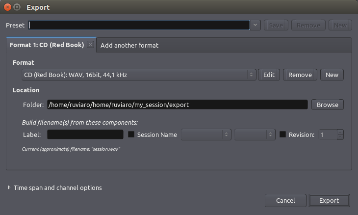 export session dialog
